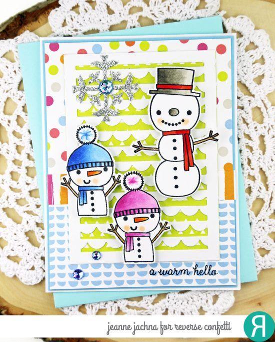 Card by Jeanne Jachna. Reverse Confetti stamp set: Christmas Cheer. Confetti Cuts: Christmas Cheer and Scallop Stripe Panel. Christmas card. Winter card. Snowman.