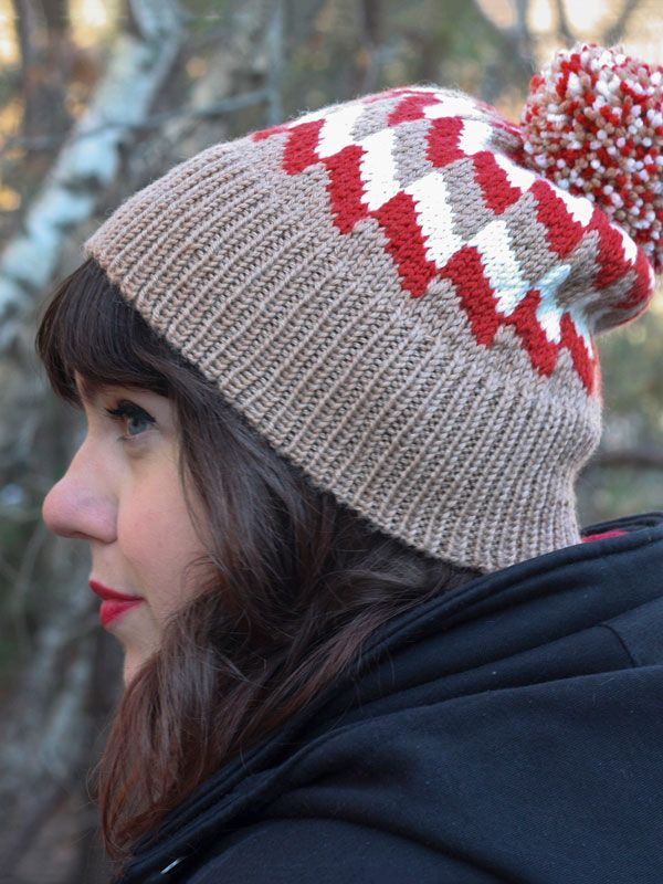 Cassidy is a free hat knitting pattern with a deep ribbed brim and ...
