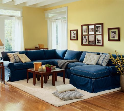 Maybe we go for a sectional with a chaise knock out the for Red denim sectional sofa