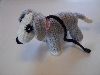 American Girl Doll Puppy Dog, 18 inch Doll Puppy Dog, AG Doll Puppy Dog, Grey and White Crocheted Stuffed Puppy Dog by MelindasClosetFinds on Etsy