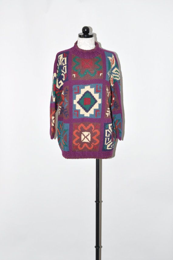 90s southwest cotton sweater / 1990s purple aztec sweater ...