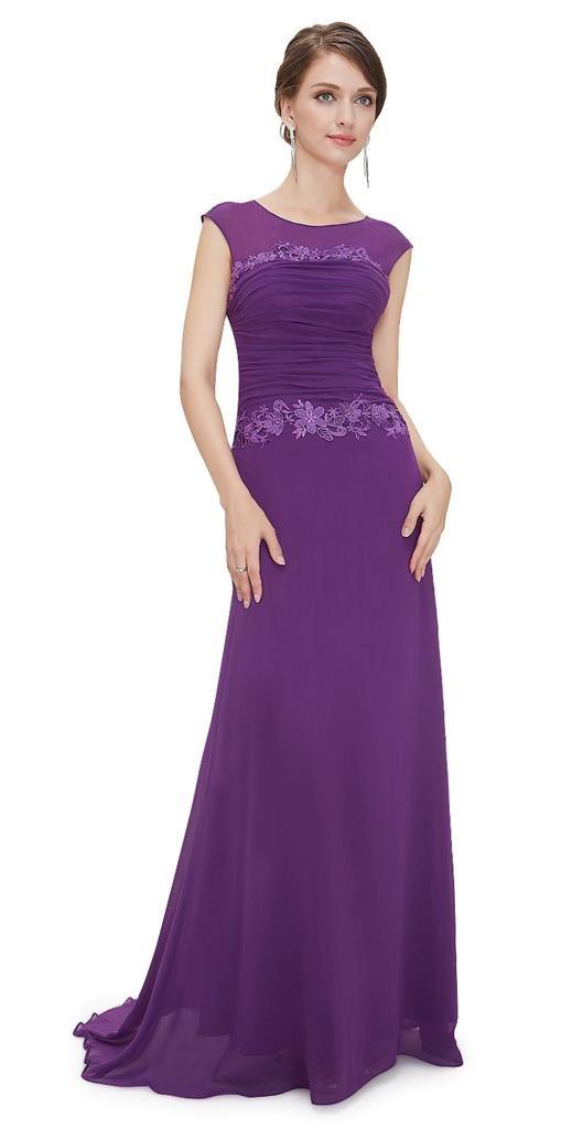 VERITY Purple Chiffon Maxi Evening Cruise Ballgown Bridesmaid Dress ...