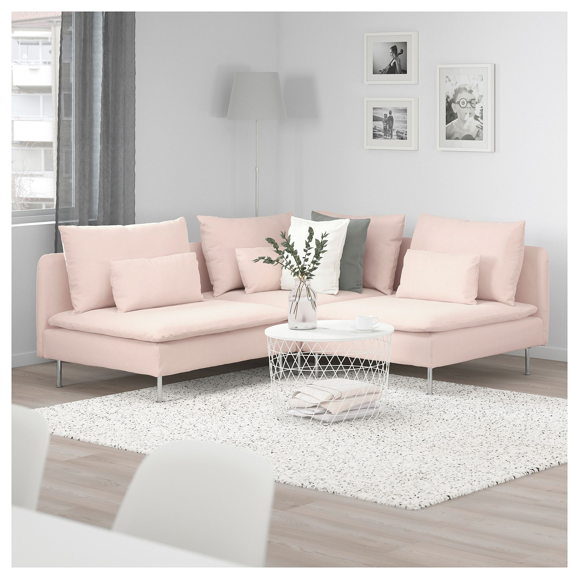 Soderhamn Sectional 3 Seat Corner Samsta Light Pink Ikea Living Room Decor Cozy Living Room Decor Apartment Living Room Designs