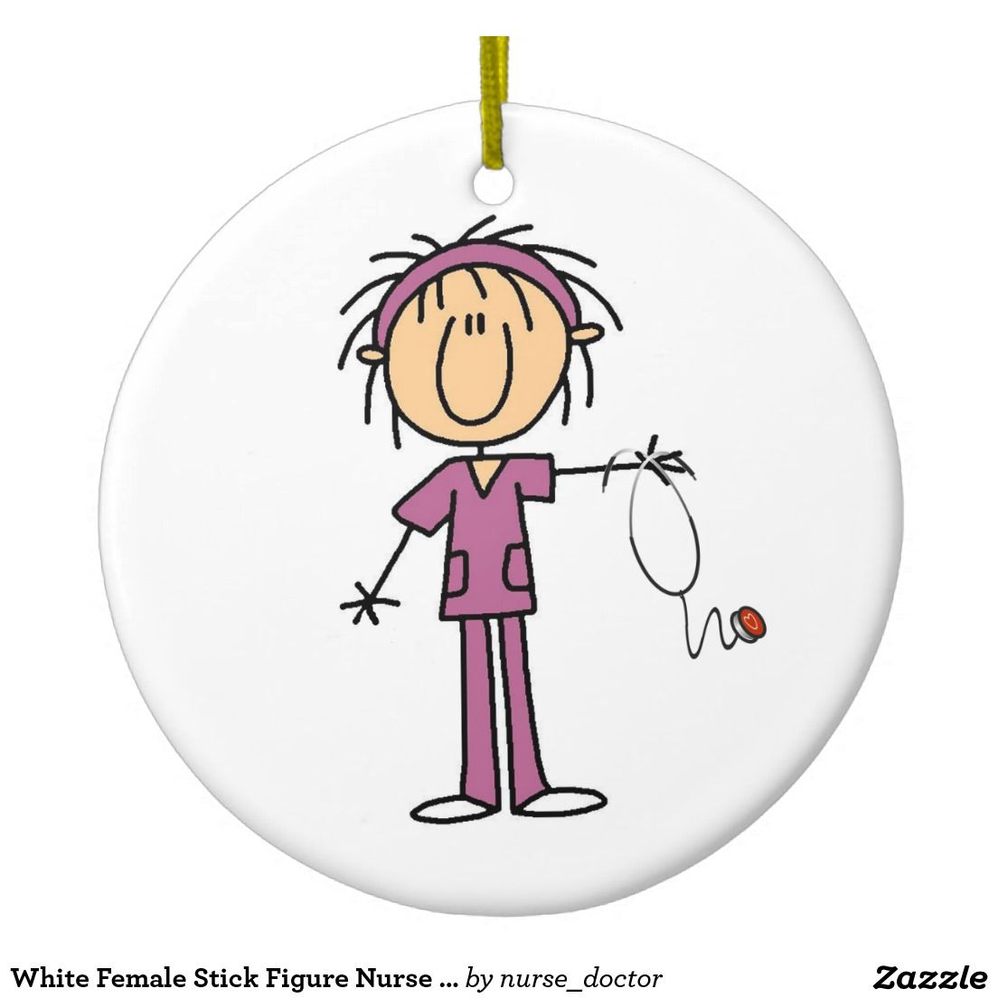 Karate ornament - White Female Stick Figure Nurse T Shirts And Gifts Ceramic Ornament