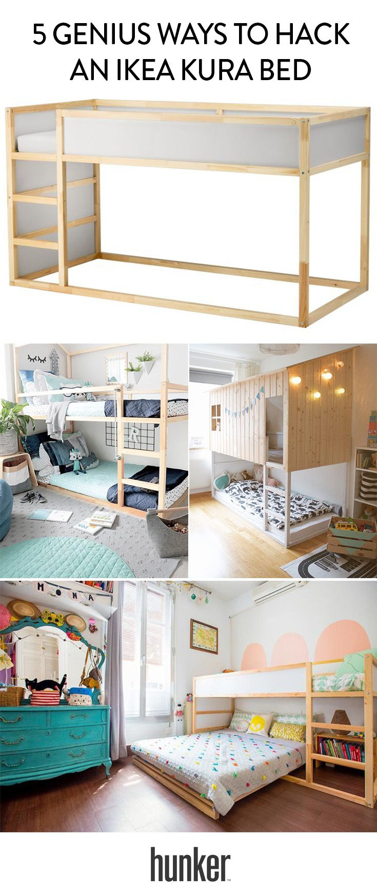 5 Genius Ways to Hack an Ikea Kura Bed #ikeahacks