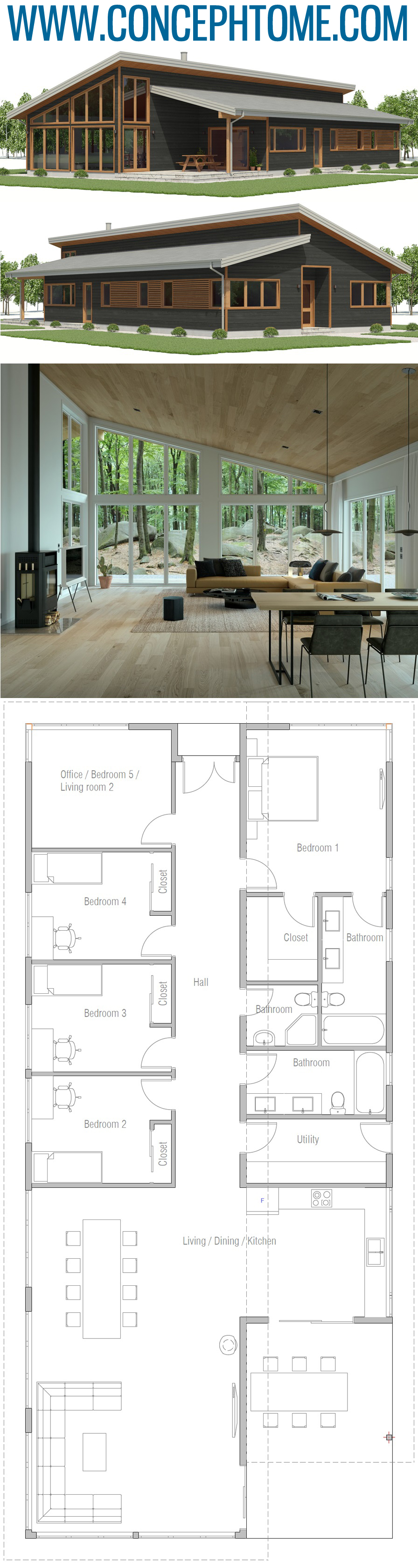 Small Home Plan Ch592 Dream House Plans Modern House Plans House Blueprints