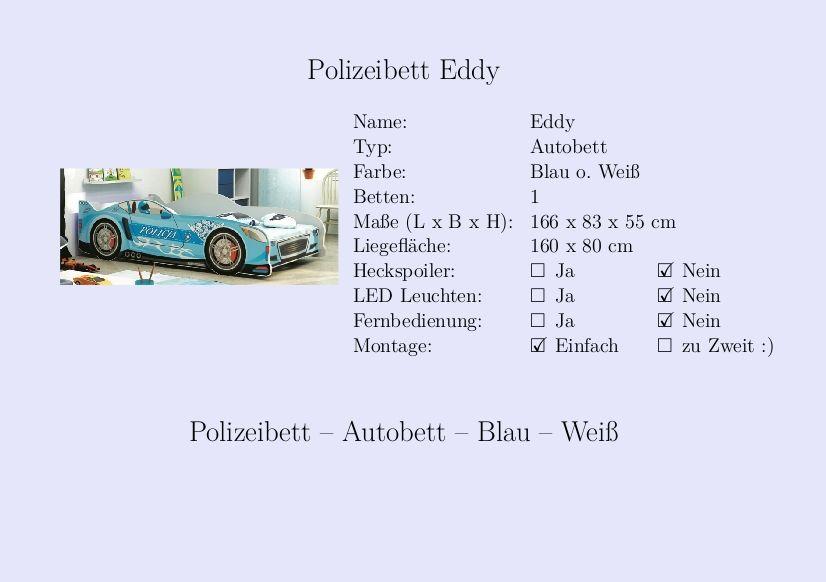 Kinderbett auto blau  Eddy #Polizeibett #Kinderbett #Jungs #Auto #Blau #Weiß ...
