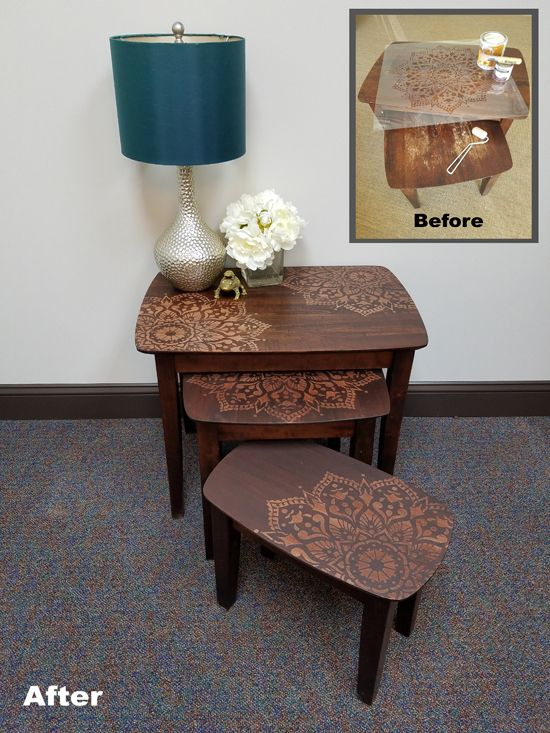How to stencil nesting tables using the passion mandala wall a before and after for stenciled and stained wooden nesting tables using the passion mandala stencil from cutting edge stencils watchthetrailerfo