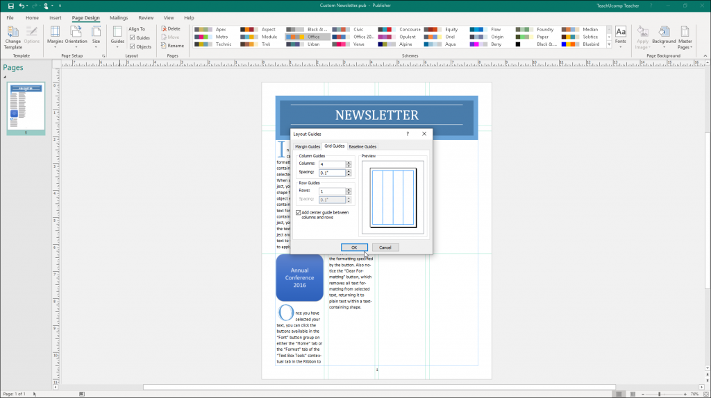 Layout Guides In Publisher Instructions And Video Lesson Publishing Layout Microsoft Publisher