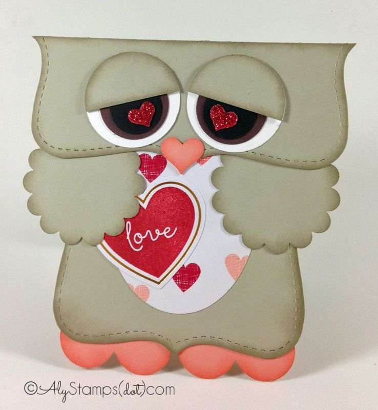 Love Bird Owl Punch Art Card. He's even holding a February Paper Pumpkin Valentine! Love the Red Glimmer Hearts for pupils.