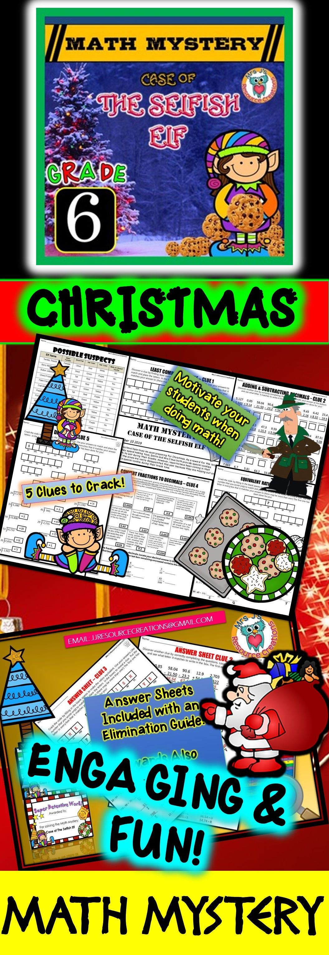 6th Grade Christmas Activity Christmas Math Mystery