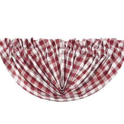 "VHC Brands Buffalo Check Balloon 60"" Curtain Valance Color: Red"