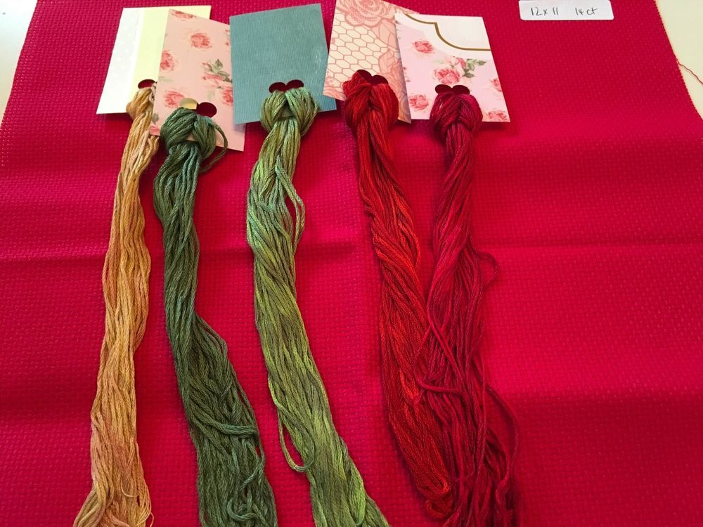 Christmas Lot of Red AIDA & Gorgeous Shades of Overdyed Floss #200