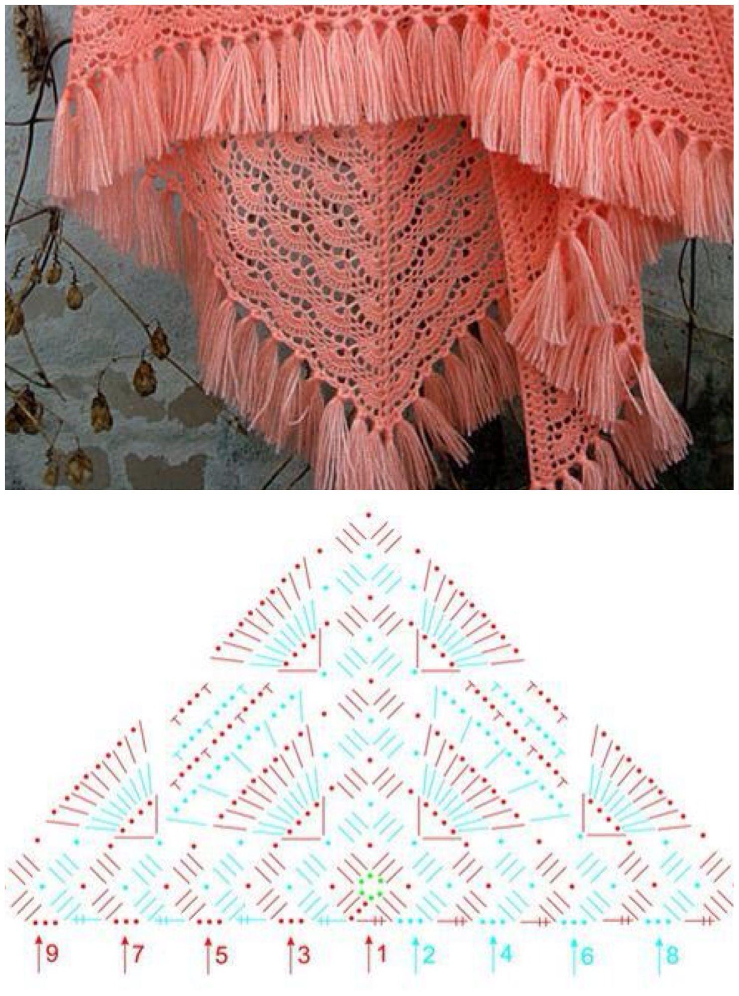 Shawl with a beautiful stitch ❤ | Crochê | Pinterest | Chal ...
