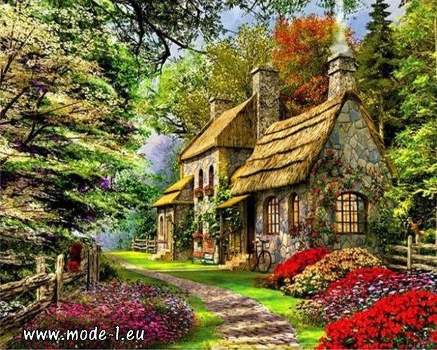 Malen Nach Zahlen Bild Acryl Leinwand Hobby Malerei Haus Mir Ramen Landschaftsbilder Bilder Landschaftsbau