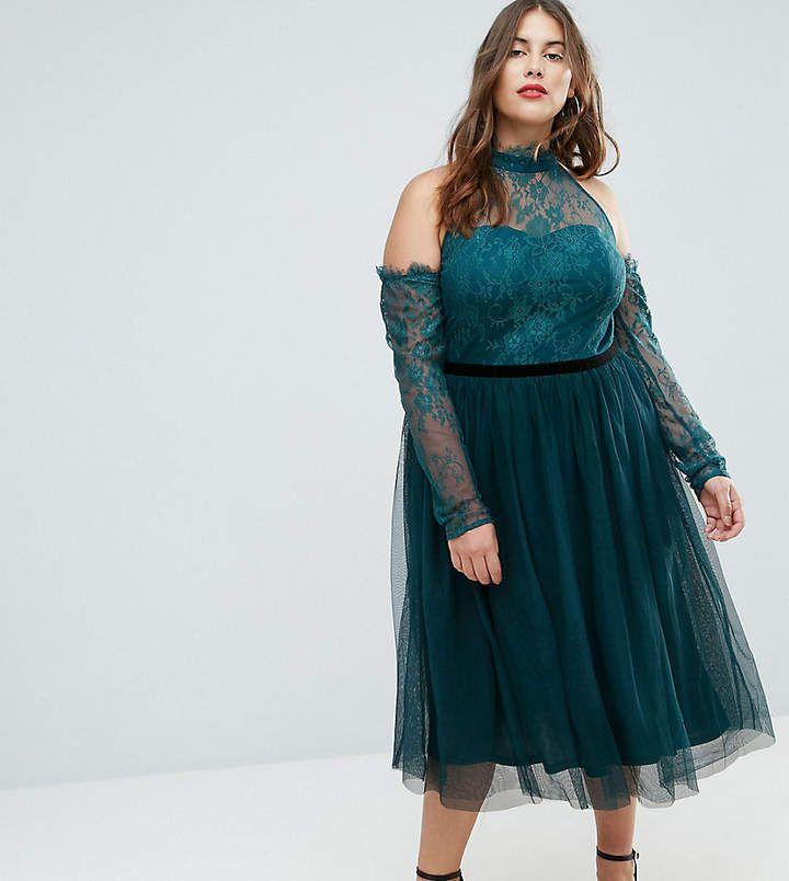ASOS Curve ASOS CURVE PREMIUM Tulle Cold Shoulder Midi Prom Dress ...