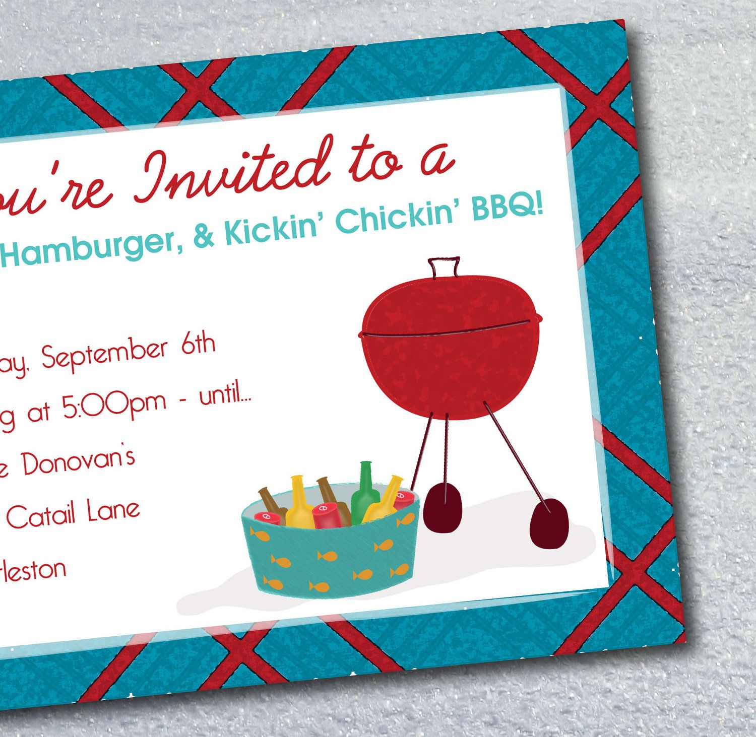 Summer BBQ Cookout and Party Invitation Printable Digital File ...