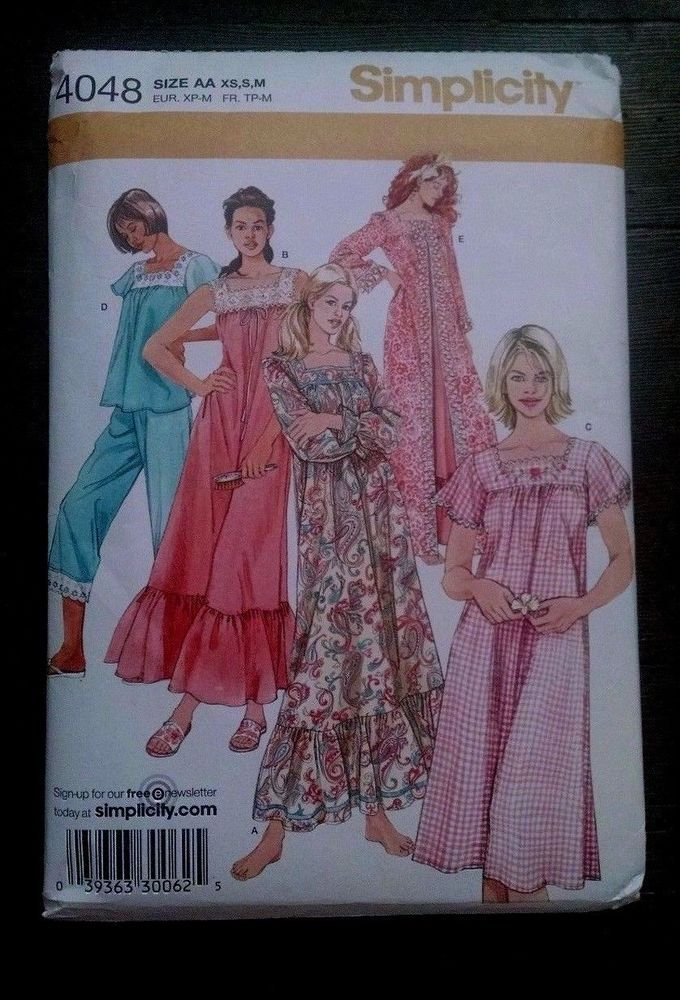6cbc81759e Simplicity 4048 Nightgown Pajamas Robe Two Lengths AA XS-S-M Uncut   Simplicity