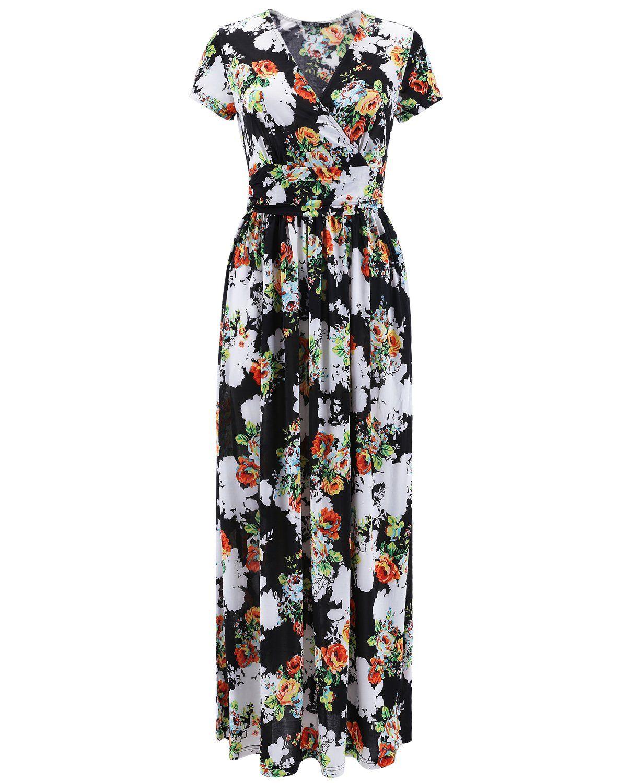 Ouges womenus vneck pattern pocket maxi long dress clothing