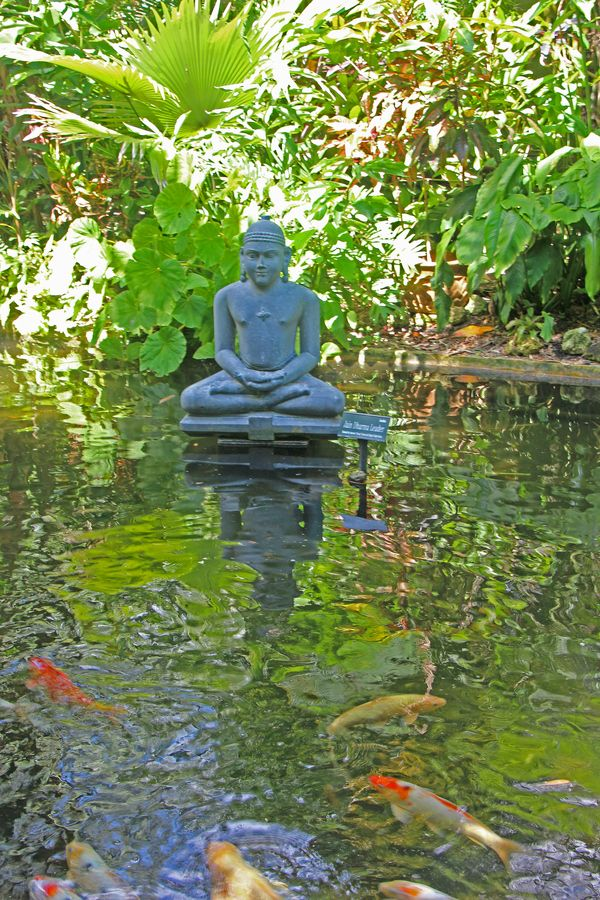 Buddah statue in koi pond japan japan pinterest koi for Japanese koi water garden