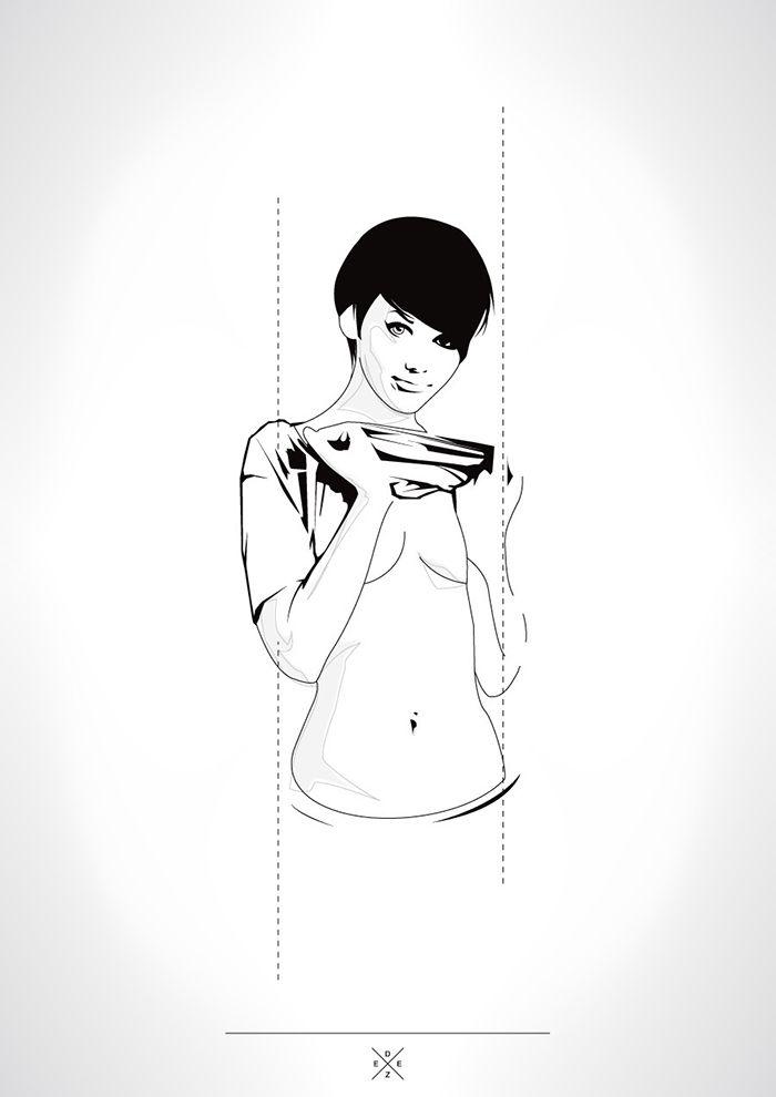 "Illustration ""Mademoiselle #3"" / Réalisation ©Monsieur Deez 2013"