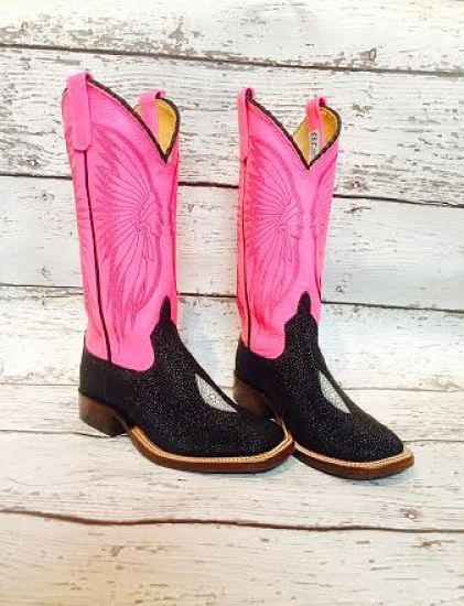 a5e6cb4161d5b1 Black stingray vamp and neon pink tops with brave stitch pattern and ultra  classy braided trim. Made int the USA!!  MuleBarn  AndersonBeanBoots   NeonWarrior ...
