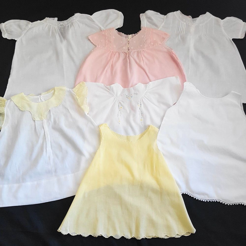 270abe6d54a7 Lot of 7 Antique Vintage Baby Doll Clothing DRESSES SLIPS ...
