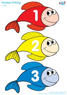 """Fantastiske fisk at lege fiskedam med! Både til indlæring af farver og tal. Klip dem ud og sæt en papirklip på hver. Læg dem på et blåt karton og """"fisk"""" dem med en fiskestang med magnet. Eleverne vil elske det!! :)"""