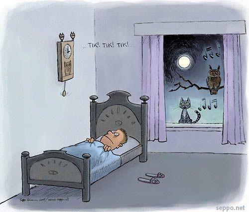 Unettomuus, keywords:  unettomuus yö uni nukkuminen kissa pöllö mies melu stressi väsymys uupumus kuu kuutamo täysikuu pilapiirros