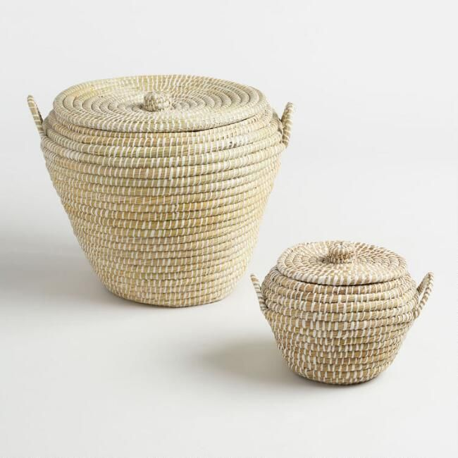 White and Natural Seagrass Paige Tote Baskets with Lids - v1