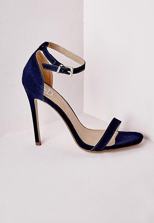 004e03890 Barely There Heeled Sandals Navy Faux Suede - Shoes - High Heels -  Missguided