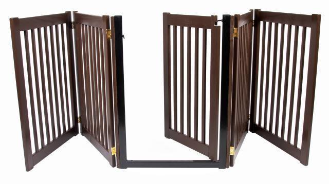 wood walk thru door dog gate expand to 9 ft extra long fence zig zag indoor pen