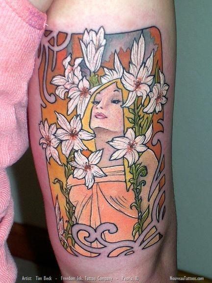 Art Nouveau Flower Tattoo Gis: Alphonse Mucha Lily Tattoo Tim Beck Art Nouveau Freedom