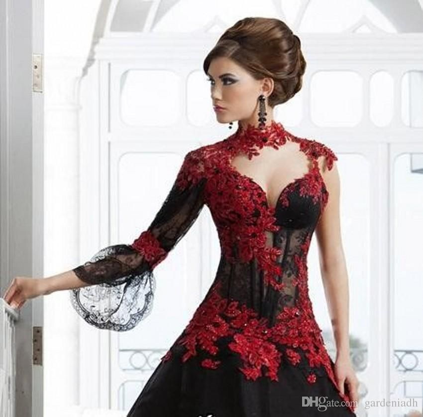 79f3799856f33 Black and Red Lace Wedding Dresses Ball Gown Stand-up High Neck Sexy ...