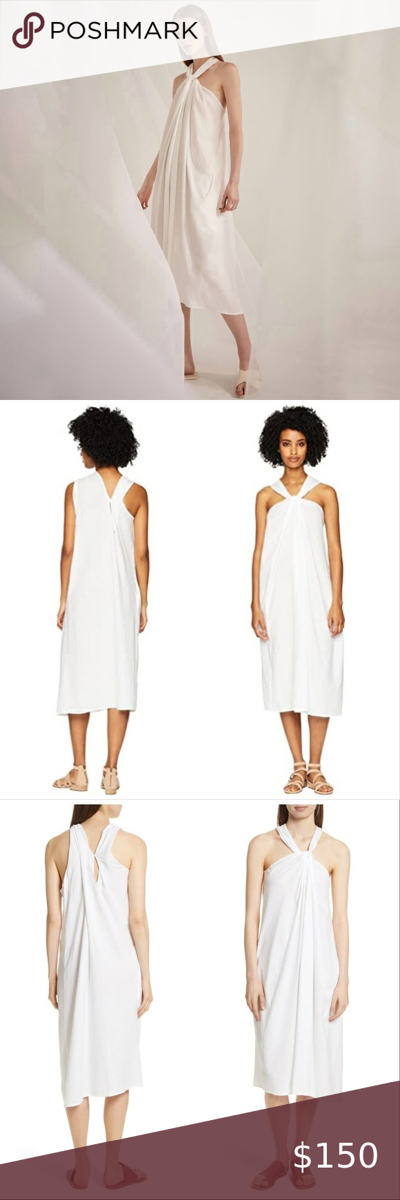 Vince White Cotton Twist Front Halter Dress Small Vince White Cotton Twist Front Halter Dress Cotton Knit Maxi Dress Maxi Dress Cotton Maxi Dress With Sleeves [ 1740 x 580 Pixel ]