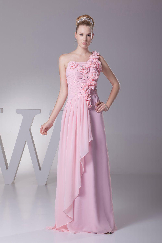 Felala rose pink long dress handmade flowers evening dress