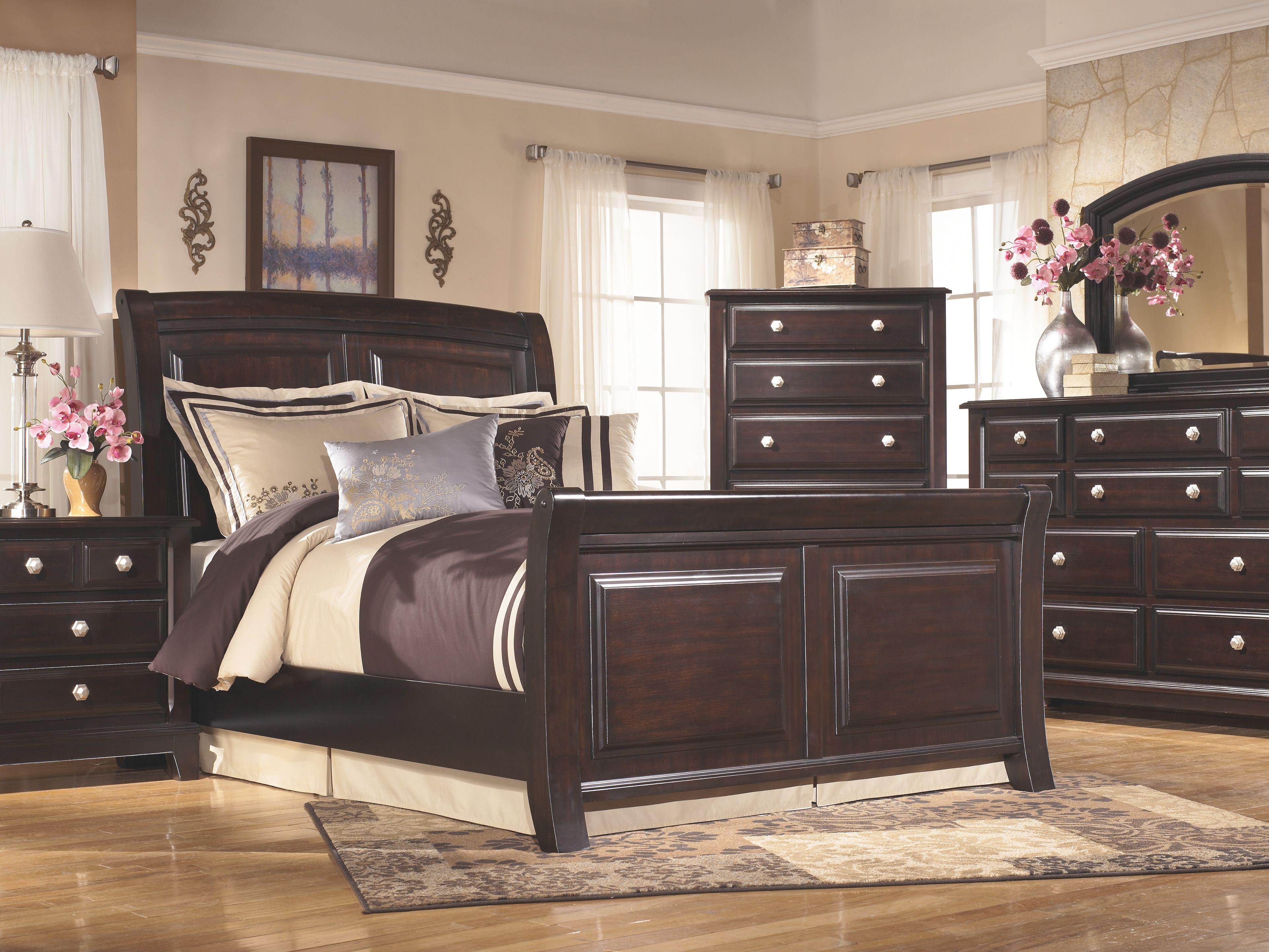 Best Ridgley Queen Sleigh Bed Dark Brown Products Bedroom 400 x 300