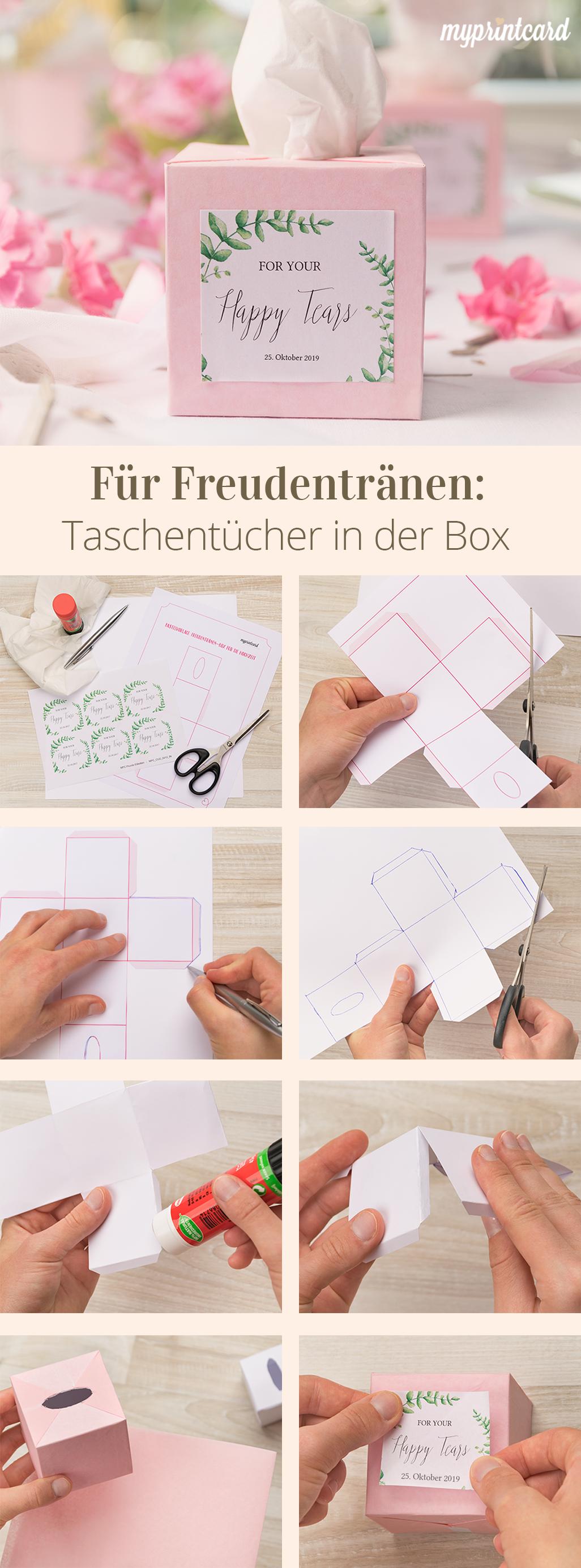 Pañuelos de lágrimas de alegría en la caja – proyecto de bricolaje