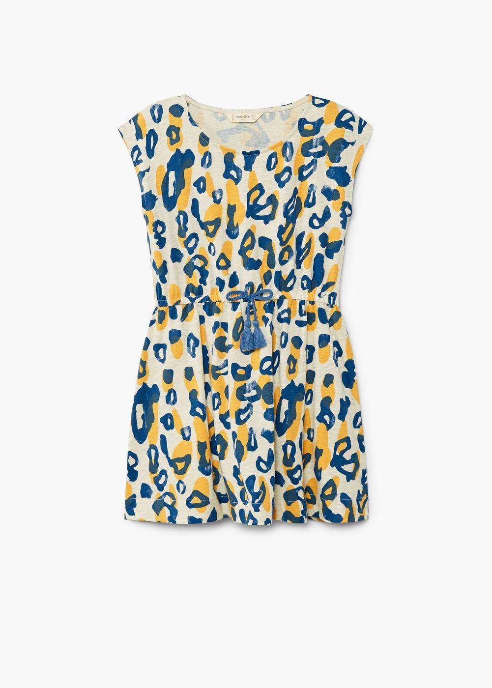 08272f4f9631 Flared design Cotton fabric Animal print Elastic waist with adjustable  drawstring Round neck Sleeveless