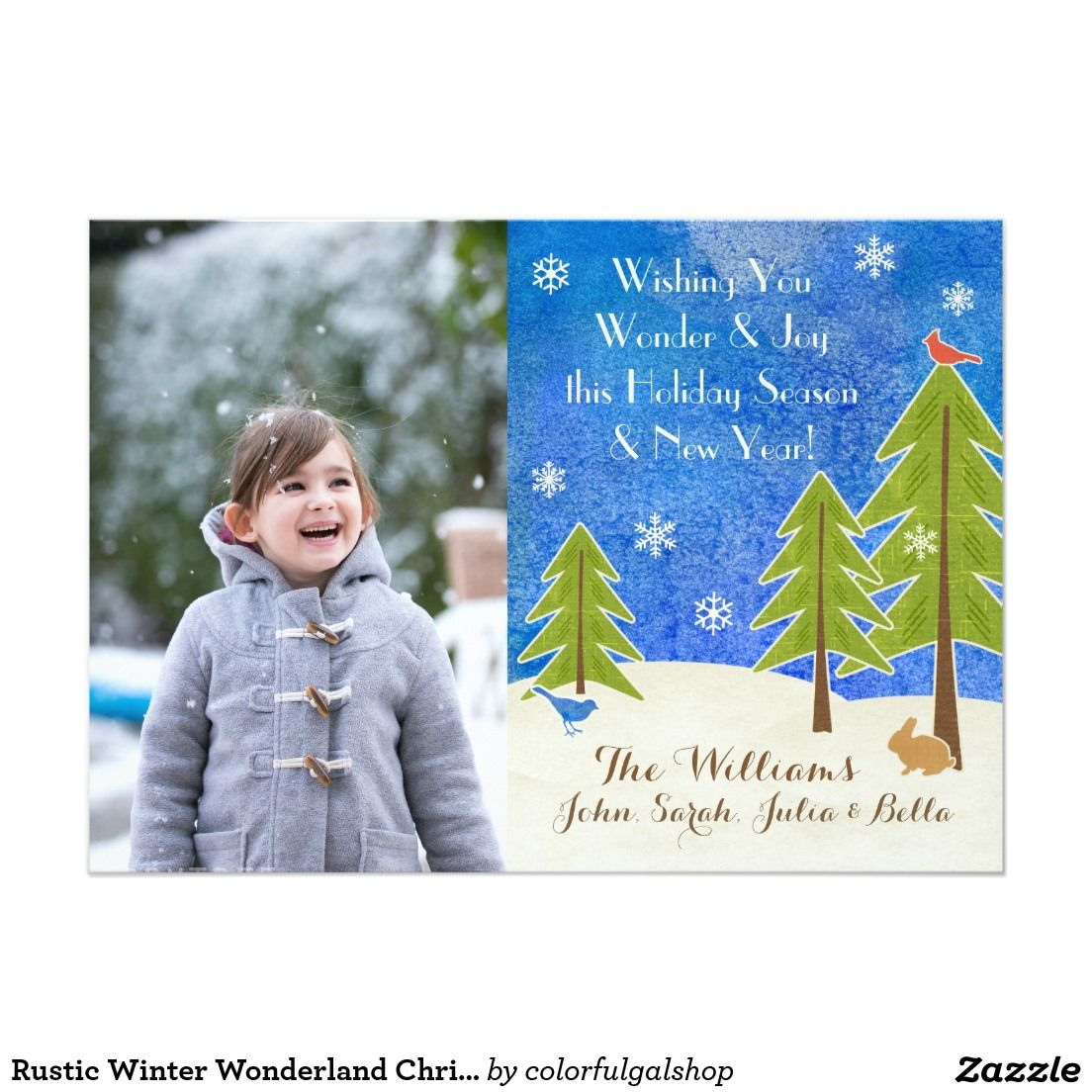 Rustic Winter Wonderland Christmas Wonder And Joy Holiday Photo Card