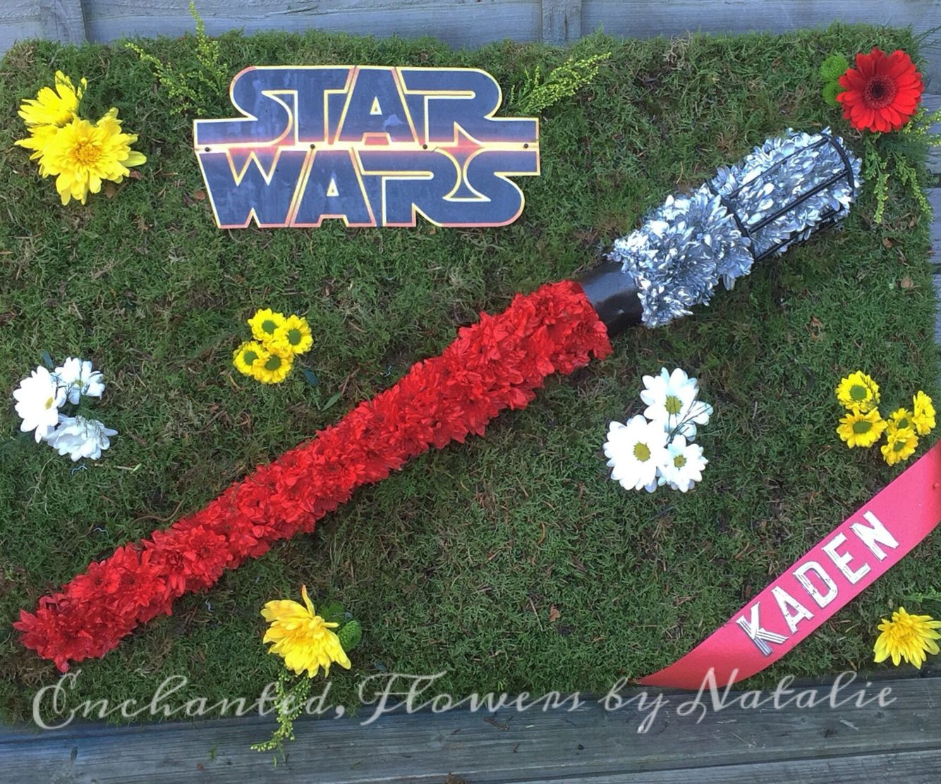 Star Wars Light Saber Floral Funeral Tribute Funeral Flowers Star
