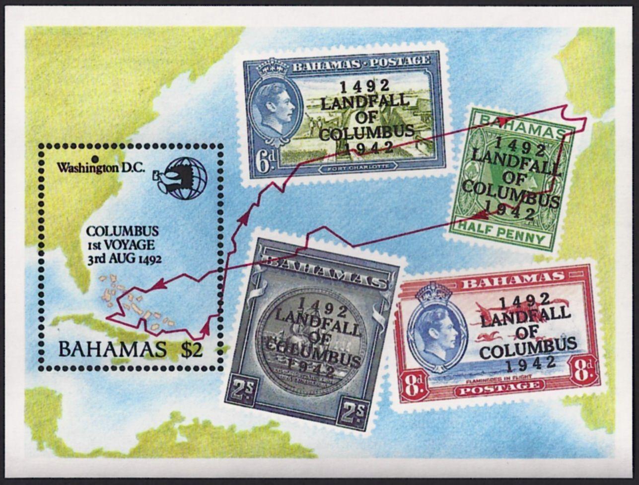 Bahamas Scott 687 17 Nov Souvenir Sheet Showing