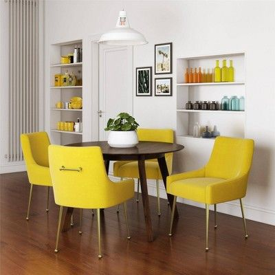 2pc Huxley Dining Chairs Mustard Novogratz Adult Unisex Yellow