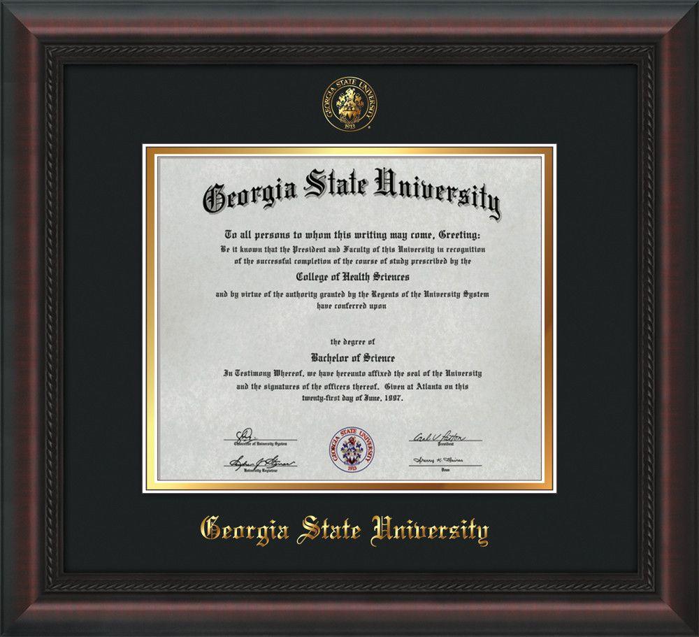 Gsu Diploma Frame Mahogany Braid W Gsu Seal Black On Gold Mat Professional Framing Company Georgia State University Diploma Frame Georgia State