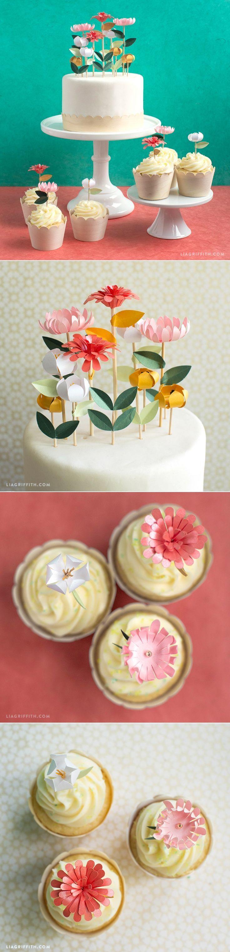 Diy flower cake toppers birthday cake decorating flower