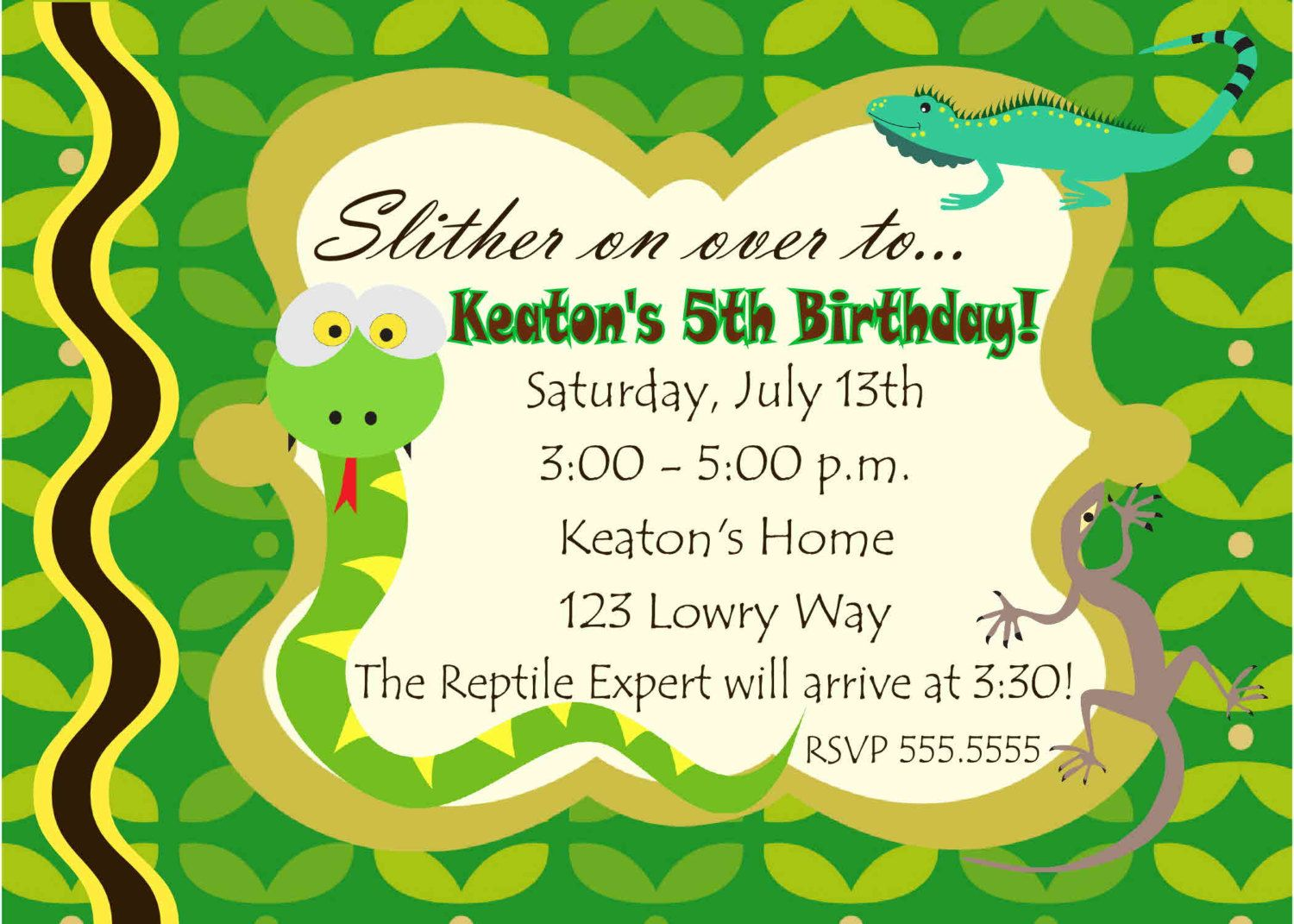 Digital Reptile Snake Photo Birthday Party Invitation You Print ...