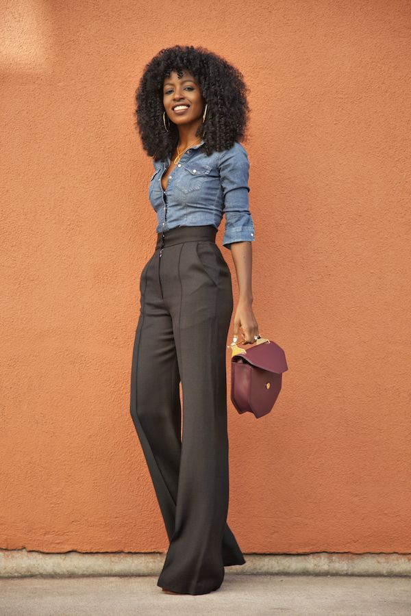 7779fbe3f7a Love this look and actually the high waist pants! Fitted Denim Shirt + High  Waist Flare Trousers