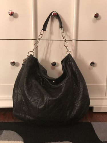 7fe8da91bb21 Christian Dior Black Leather Lady Dior Cannage Quilted Lambskin Hobo Bag