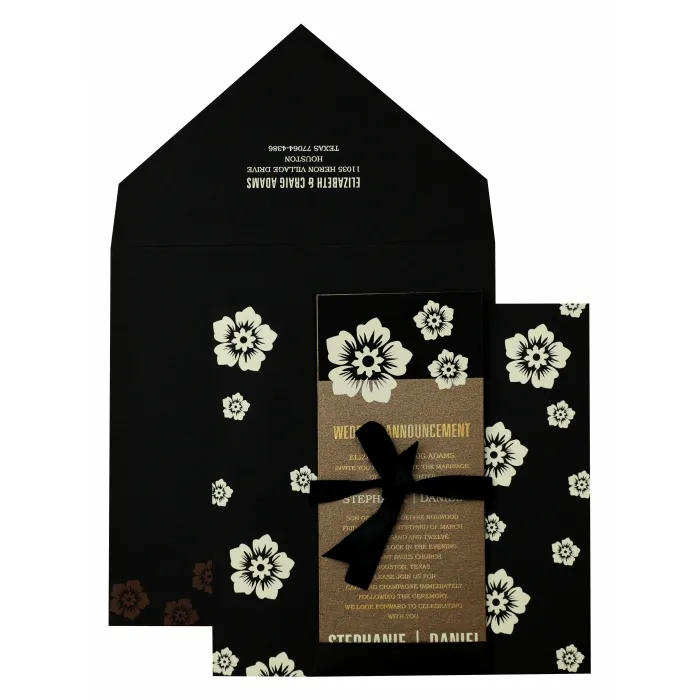 BLACK MATTE FLORAL THEMED - SCREEN PRINTED WEDDING INVITATION : W-825 - 123WeddingCards #weddinginvitation #weddingcards #invitationcards #onlineweddingcards #weddingcardsonline #designerweddingcards