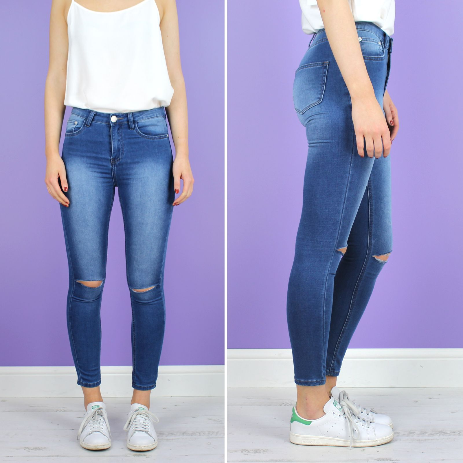 Glamorous Light Grey Cropped Skinny Ripped Jeans | Devil In Denim ...